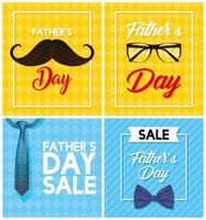 Father's day sale banner set with gentlemen's accessories vector