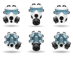 Respirator breathing mask for protection set vector