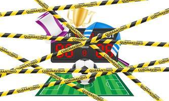 cinta protectora rayada que prohíbe cualquier evento deportivo
