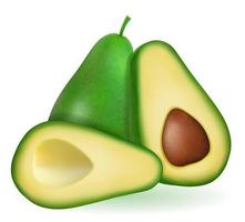 Green avocado fresh ripe fruit set