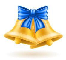 campanas de oro de navidad con lazo vector
