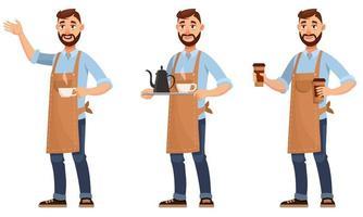 barista en diferentes poses. vector