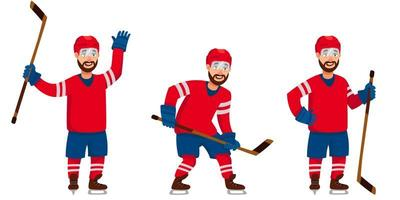 Hockey player in different poses vector