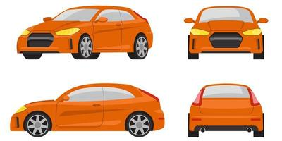 coche hatchback en diferentes vistas.
