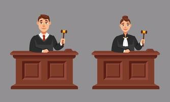 Male and female judges in cartoon style