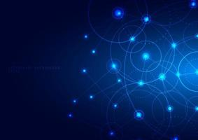 comunicación de tecnología abstracta con círculo geométrico conectado vector