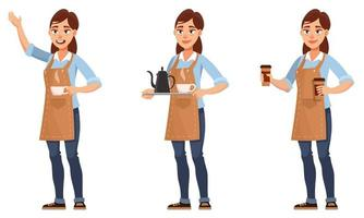 Barista in different poses vector