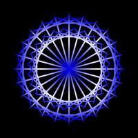 Espirógrafo circular azul abstracto sobre fondo negro