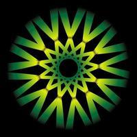 Espirógrafo amarillo verde abstracto sobre fondo negro