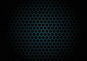 Patrón de malla hexagonal negro abstracto sobre fondo azul. vector