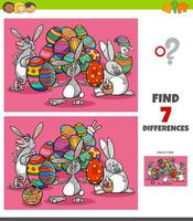 Differences task with cartoon Easter characters vector