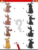 tarea de sombra con personajes de perros de dibujos animados vector