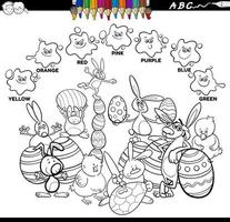 Libro de colores de colores básicos con personajes de pascua.