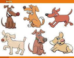 Dogs and puppies comic characters set
