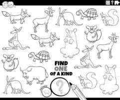 One of a kind task with animals color book page