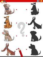 tarea de sombra con perros y cachorros de dibujos animados vector