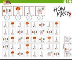 How many Easter bunnies characters counting game vector