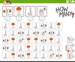 cuántos conejitos de pascua juego de conteo de personajes vector