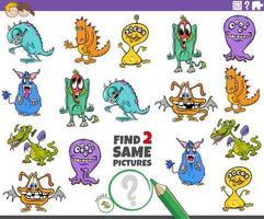 encontrar dos mismos personajes monstruosos tarea para niños vector