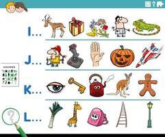 Primera letra de una actividad de palabra para niños. vector