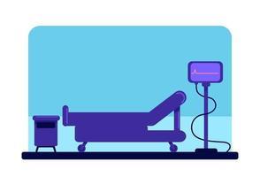 Wheeled bed and cardiogram monitor vector
