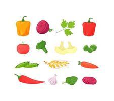 Fresh vegetables set vector