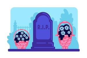 Flowers and tombstone vector
