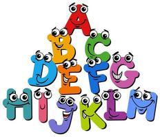 Alphabet letter characters cartoon vector