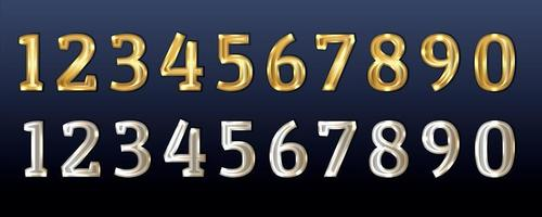 Gold and silver numbers vector