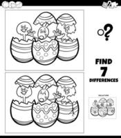 Differences coloring game with cartoon Easter characters