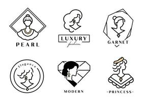 Luxury woman logo with jewel vector