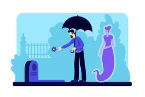hombre con flor en el cementerio