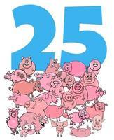 número veinticinco y grupo de cerdos de dibujos animados vector