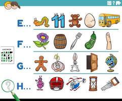 primera letra de una palabra actividad educativa para niños vector