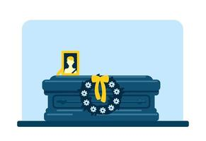 Dead man coffin and photo vector