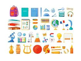 School subjects and supplies objects set vector