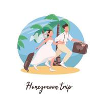 Just married couple first travel social media post vector