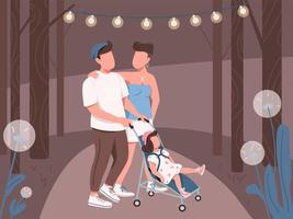 Young family walking in night park vector