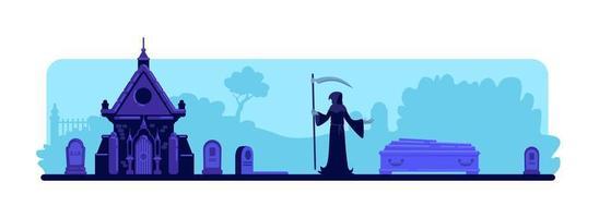 Grim reaper at cemetery