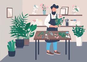 Inside flower shop vector