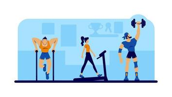 Gym workout with equipment vector