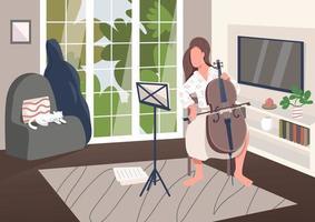 Cello player at home vector