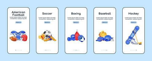 aplicación móvil de incorporación de equipos deportivos vector