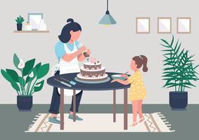 familia horneando un pastel vector