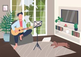 guitarrista en casa vector