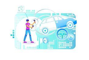 Car building engineer vector