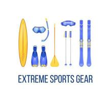 Summer and winter sports equipment vector
