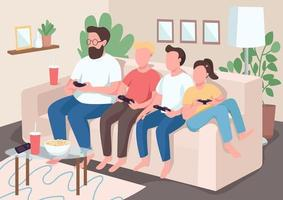 Family bonding on the couch vector
