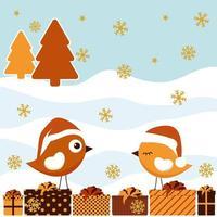 tarjeta de invierno con pájaro y caja de regalo.