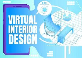 banner de diseño de interiores virtual vector
